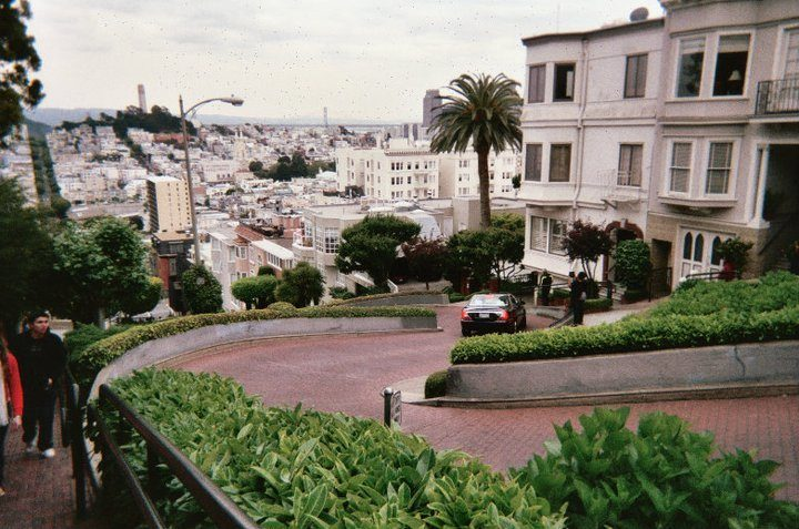 Looking down on Lombard Street