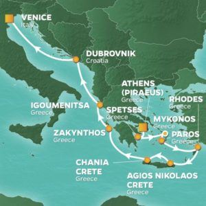greek isles cruise route map