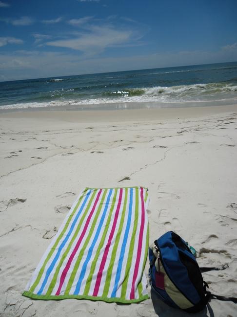 towel on orange beach