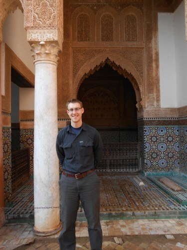 View Moroccan architecture like these pillars and tiles in Marrakech