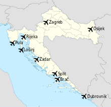 map of major croatian airports