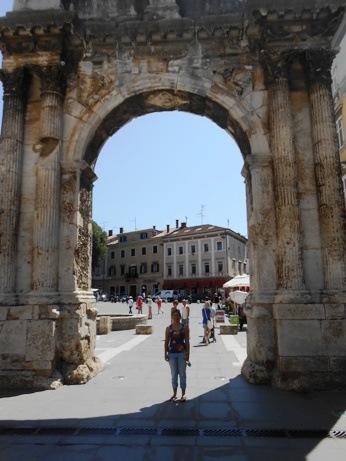 Roman ruins in a Tourist Square, Pula