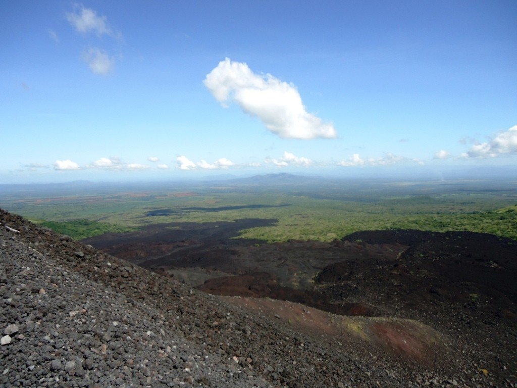 A beautiful view (and much-needed rest) from halfway up the volcano.