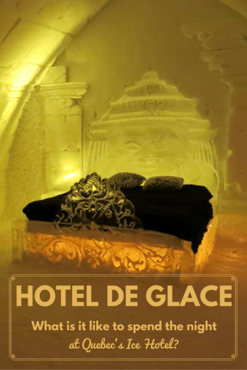 The Girl and Globe shares what it's like to stay at @HoteldeGlace, an ice hotel in Quebec, Canada. An overnight experience is a unique adventure! Full review at https://sightdoing.net/hotel-de-glace-ice-hotel-canada/