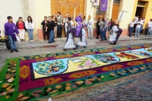 One of the beautiful alfombras, most of which are made from dyed sawdust