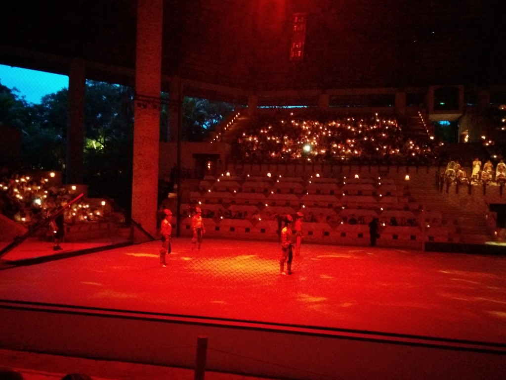 An ancient Mayan ball game, to start the evening off Mexico Espactacular Xcaret