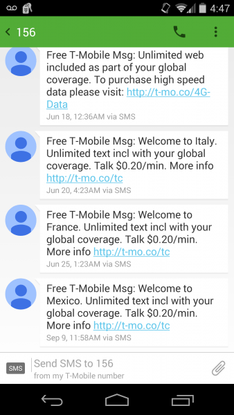 how tmobile international data works