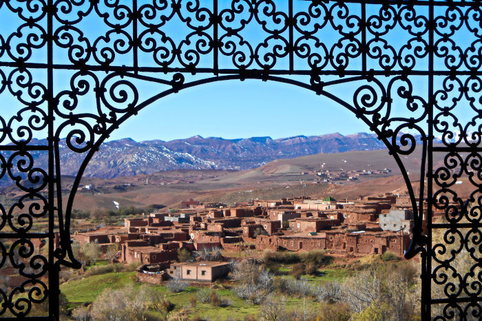 "Overlooking a town and the Atlas Mountains from my ""private"" kasbah"