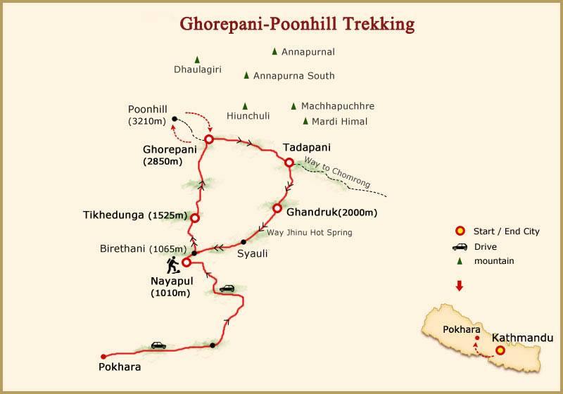 ghorepani poon hill trek map (poon hill map)