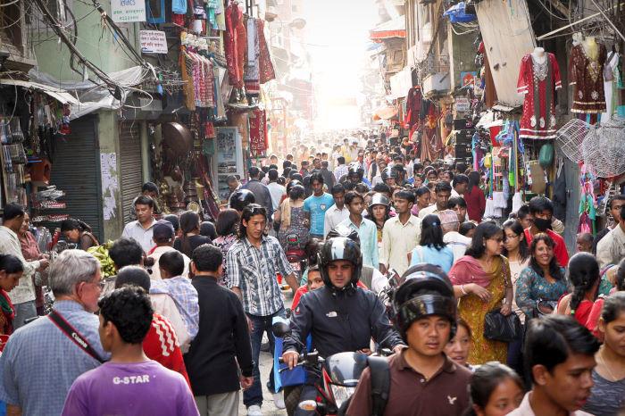 kathmandu crowds streets