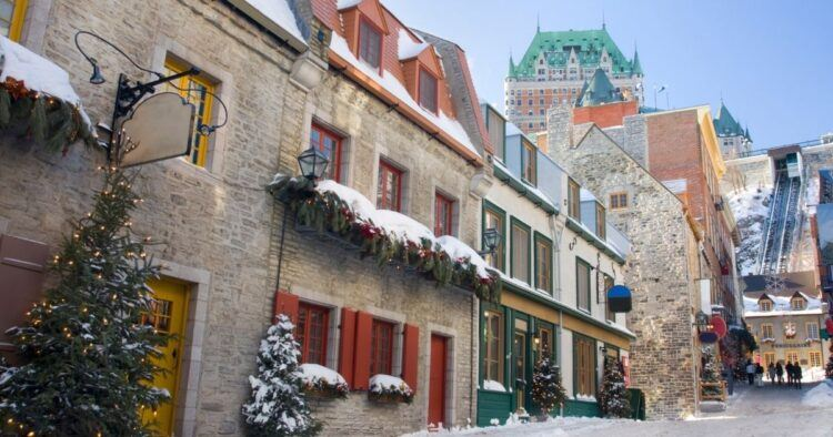 winter street in quebec city