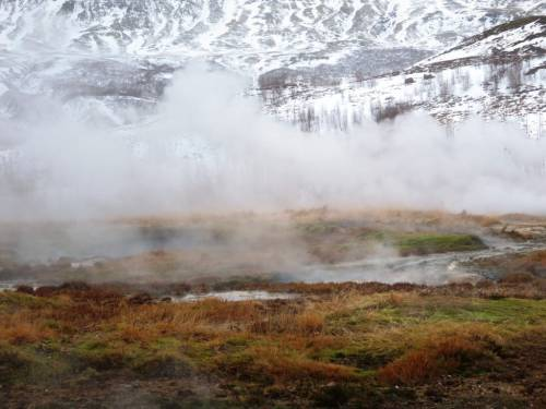 Geysir, on the Golden Circle. Do it yourself to save money in Iceland so you don't need to worry about is iCeland expensive.