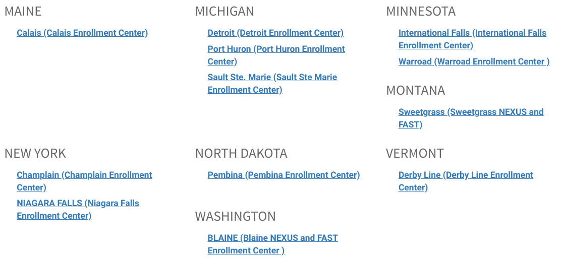 NEXUS interview locations