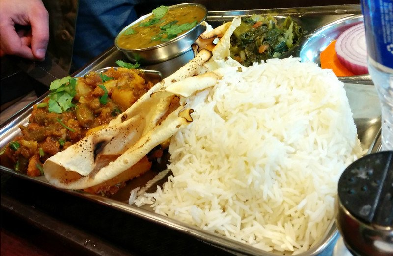 Vegetarian Thali plate $8 (including bottled water)