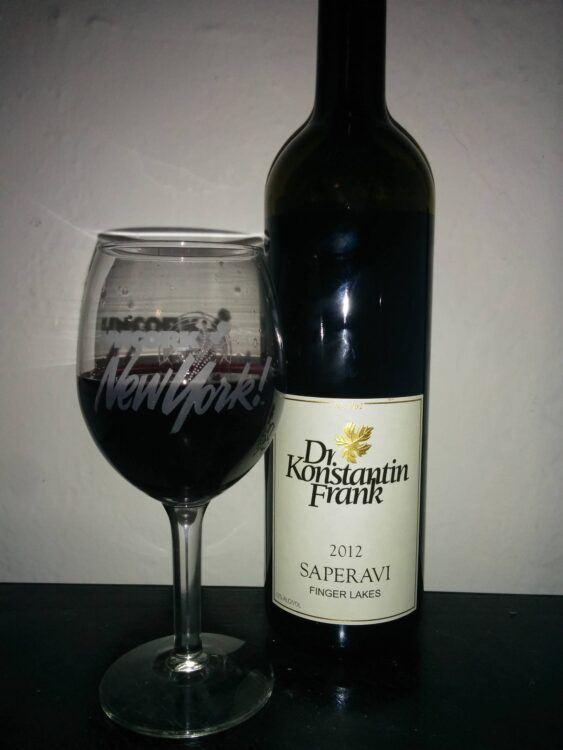 bottle of saperavi wine