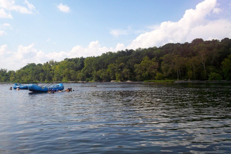 Swimming in the James River (while whitewater rafting in Richmond, VA)
