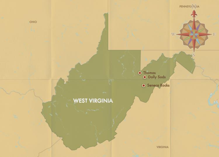west virginia map dolly sods thomas seneca rocks