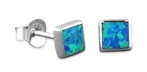 blue square opal earrings