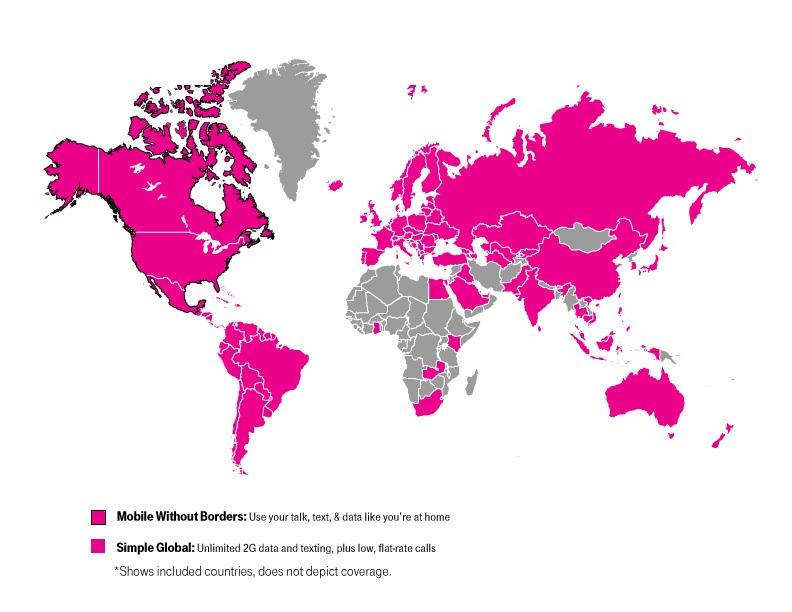 T-Mobile International Roaming map