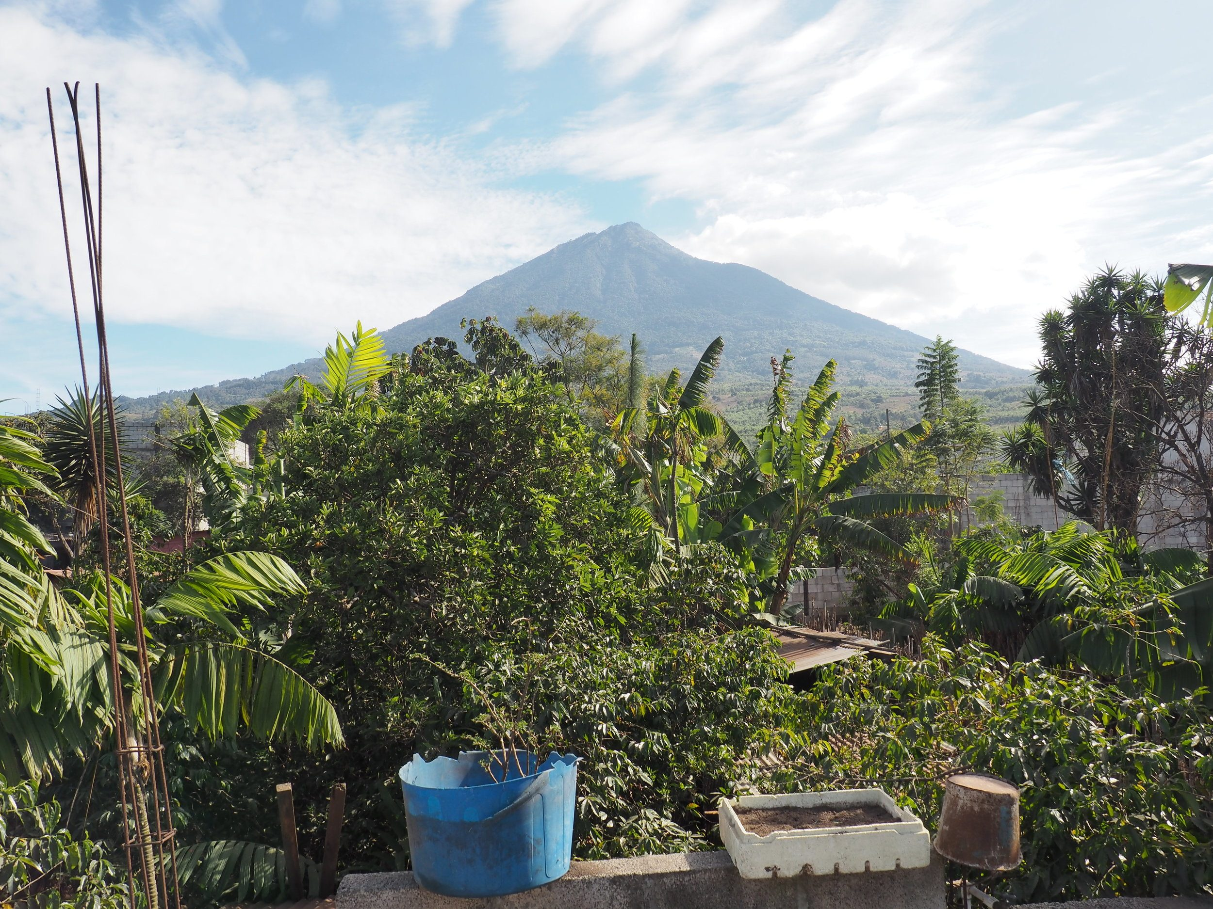 view from rooftop san miguel escobar antigua guatemala