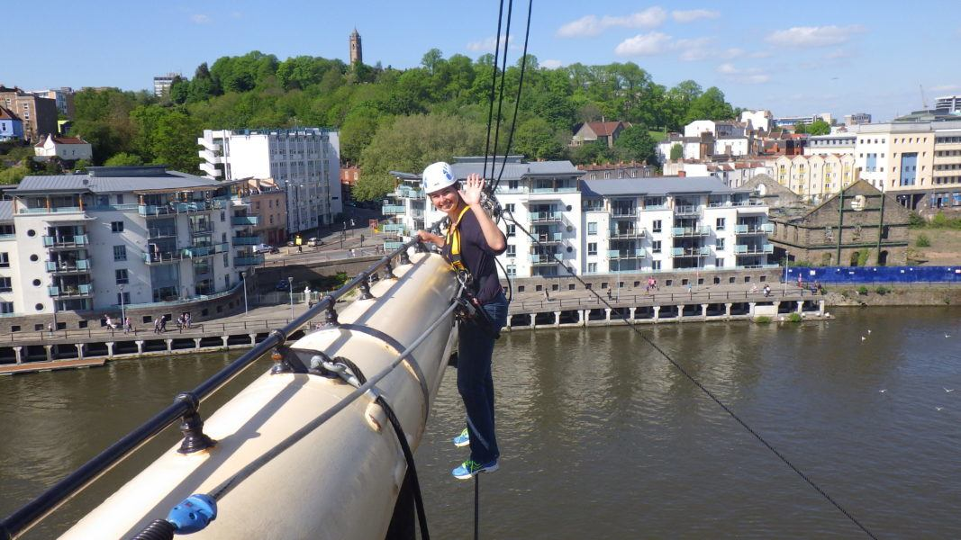 Climbing the ship rigging from the SS Great Britain