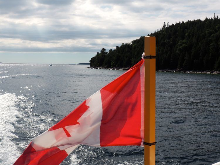 View from the boat ride to Flowerpot Island.
