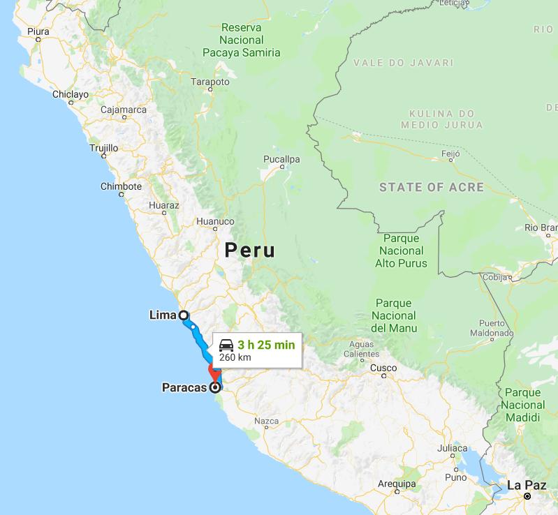 Map of Paracas
