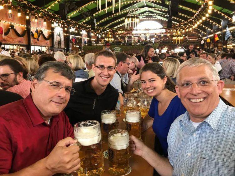 Inside an Oktoberfest beer tent