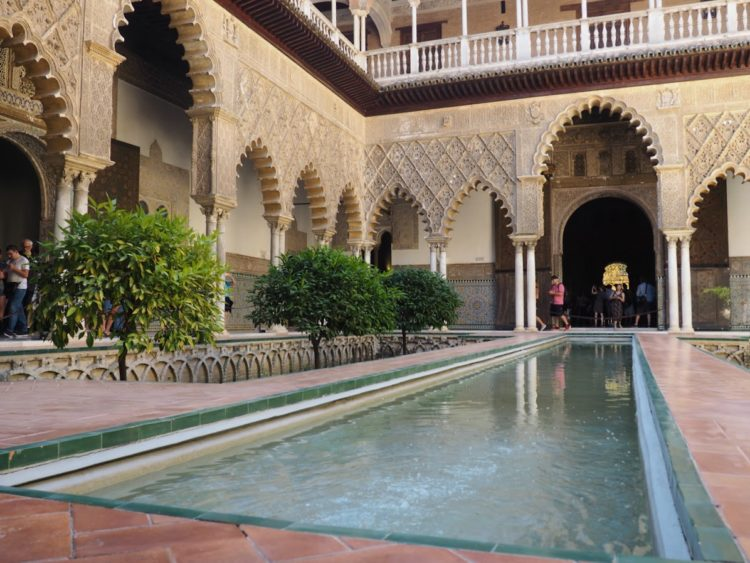 Inside the Alcazar of Seville Spain