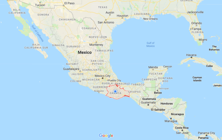map of oaxaca in relation to rest of mexico
