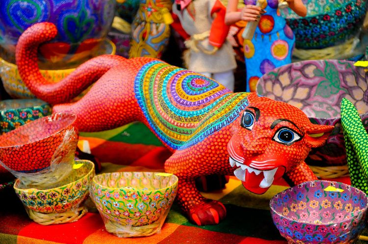 bright colorful Oaxaca alebrijes