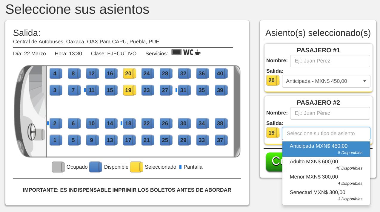 Clickbus Seat Map