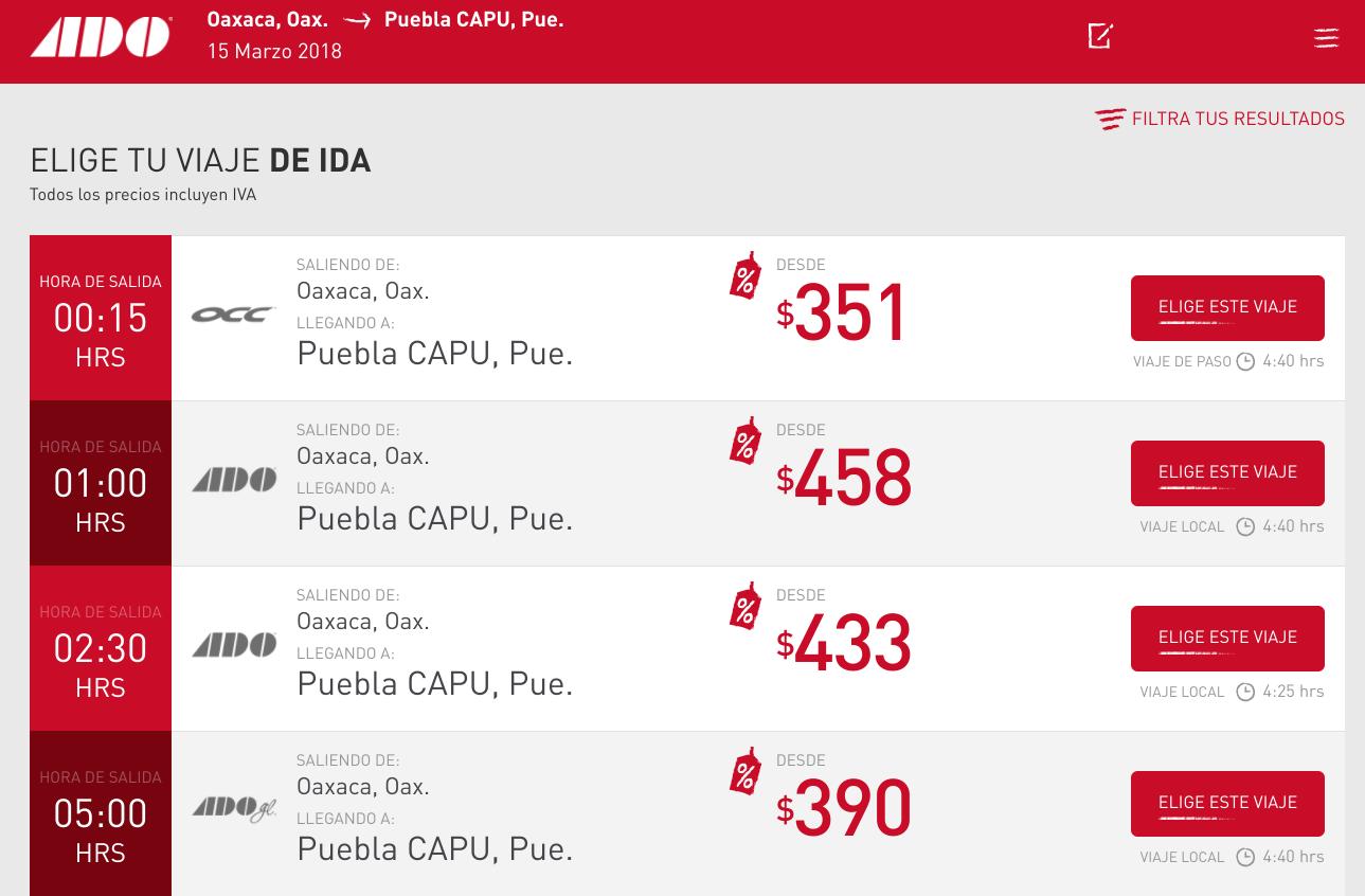 ADO Bus Schedule Results