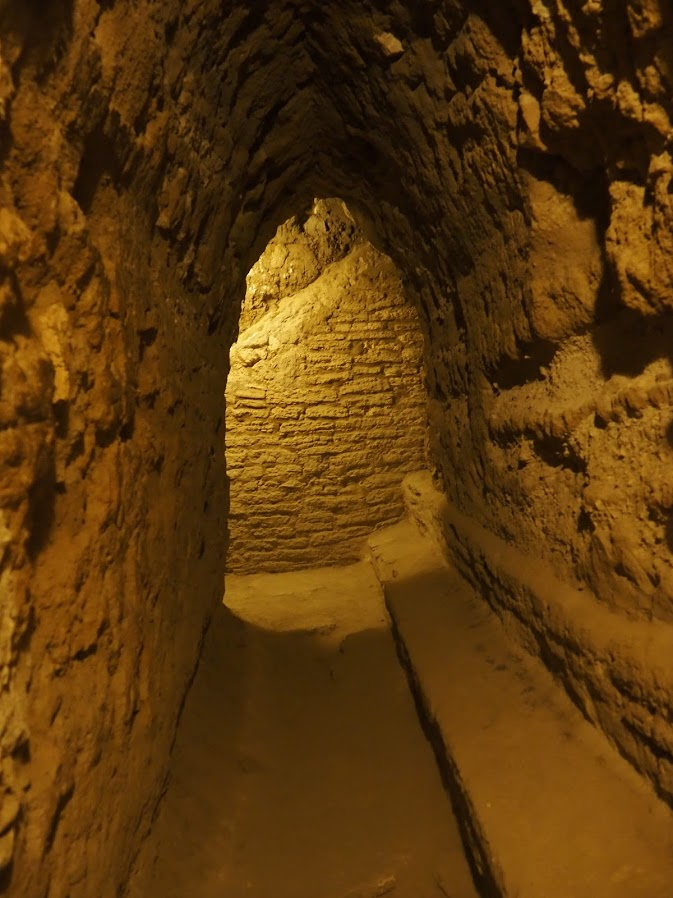 Inside the Cholula tunnels, within the pyramid