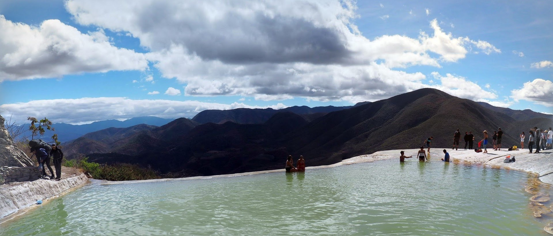 panorama of The largest pool at Hierve el Agua, outside Oaxaca Mexico