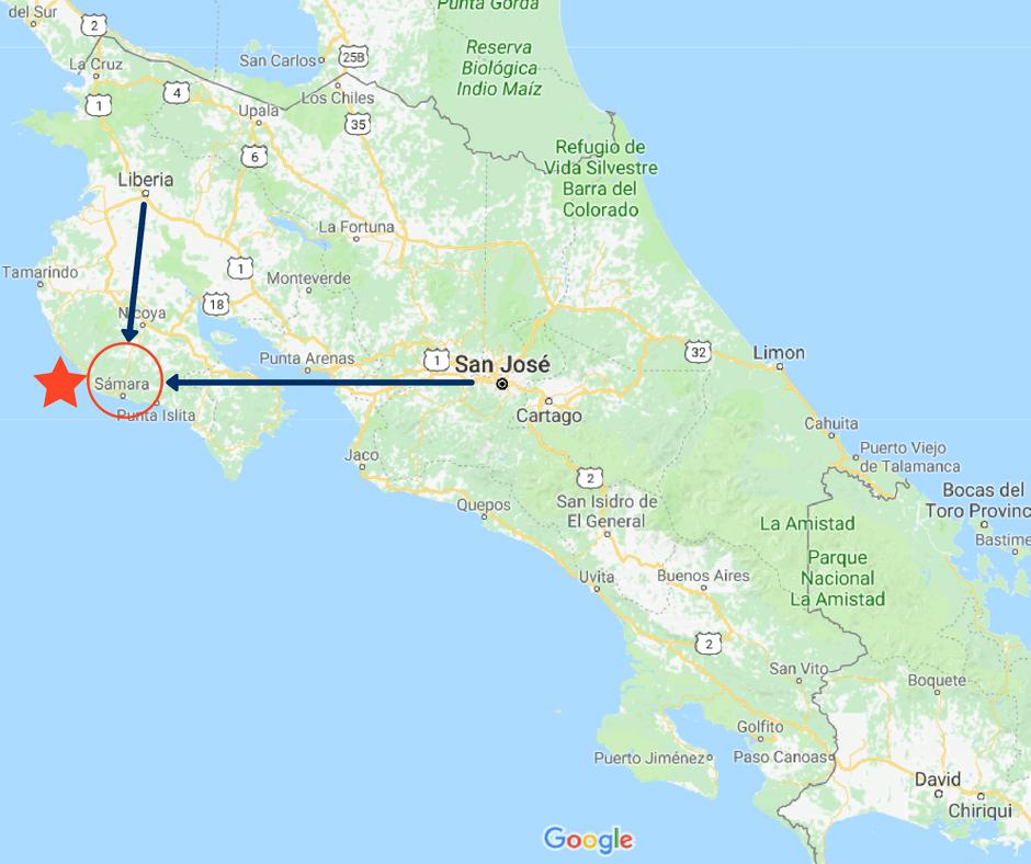 Map of Playa Samara Costa Rica