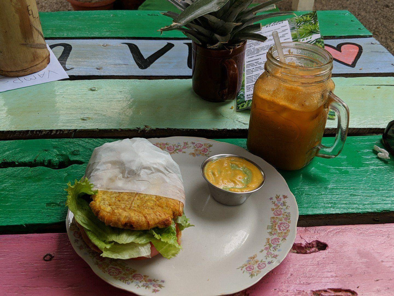 "A sandwich on plantain ""bread"" at El Tigre Verde"