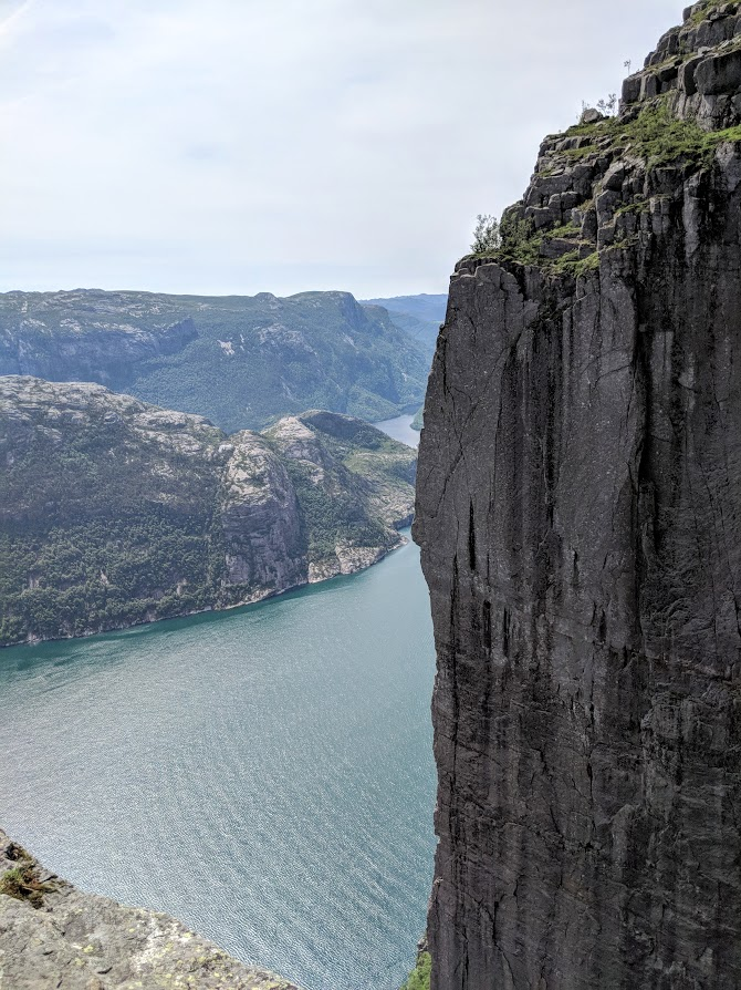 Steep walls rising over the Lysefjord at pulpit rock