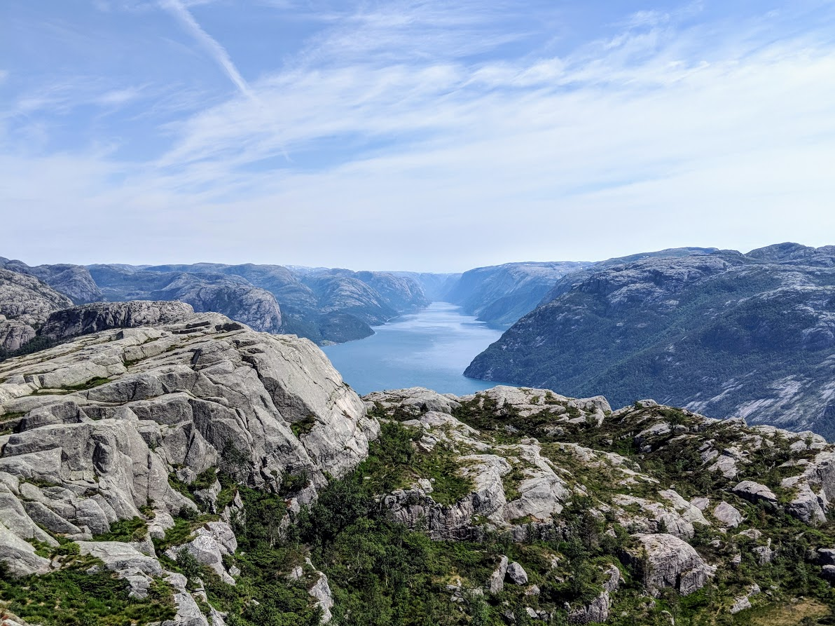 A view of the Lysefjord from along the Pulpit Rock hike