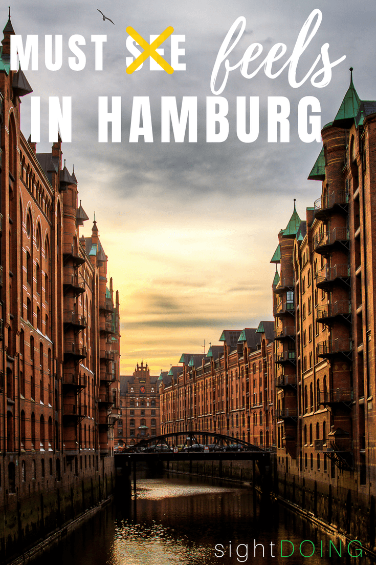 """No one tells you the secret to Hamburg Germany: you have to feel it to believe it. Forget the list of must-sees and must-dos...Hamburg is about the """"must-feels"""". Find out where to feel it in Speicherstadt, the Reeperbahn, Fishmarkt, and more. Your list of things to do in Hamburg has never looked like this before!"""
