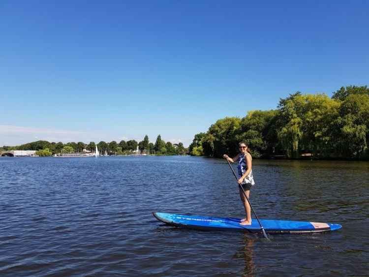 Becky stand up paddling Hamburg