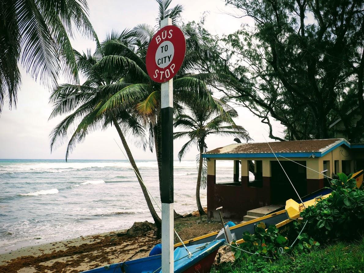 bus stop on ocean