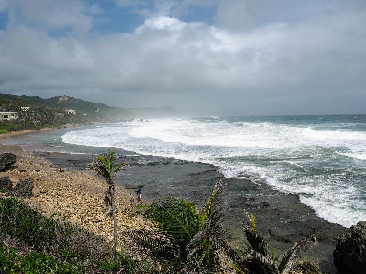 waves crashing along the east shore