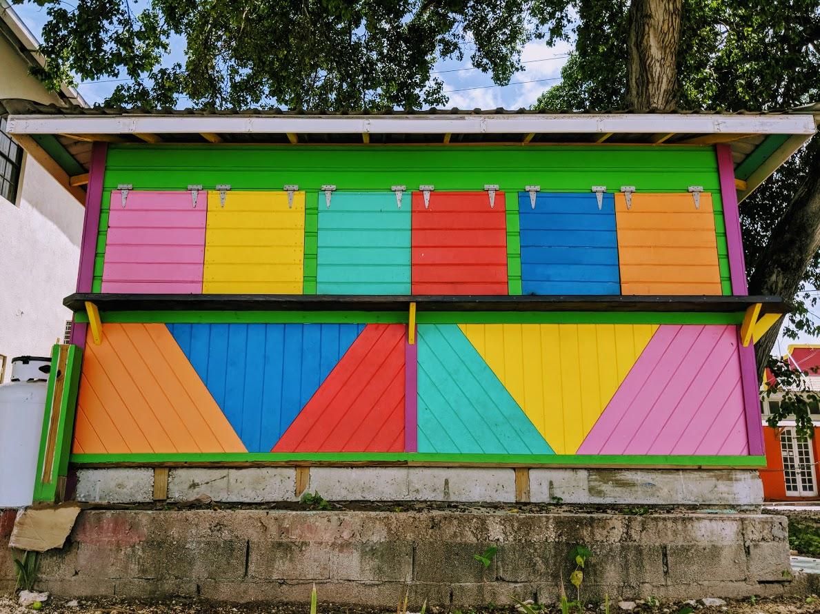 beach shack in rainbow colors