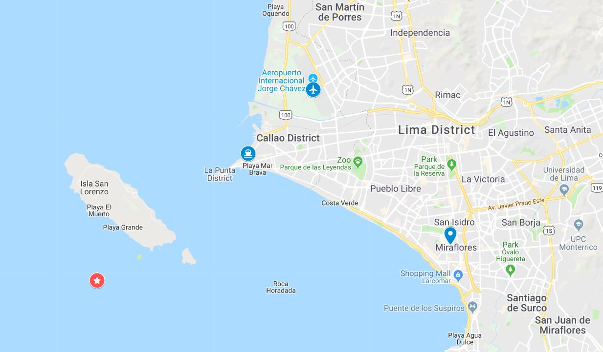 Map of Islas Palomino Peru