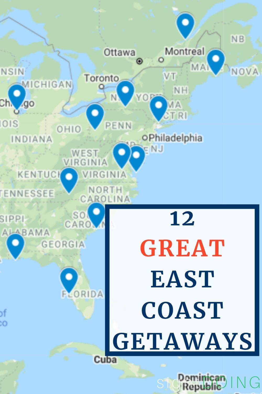 weekend getaways east coast map