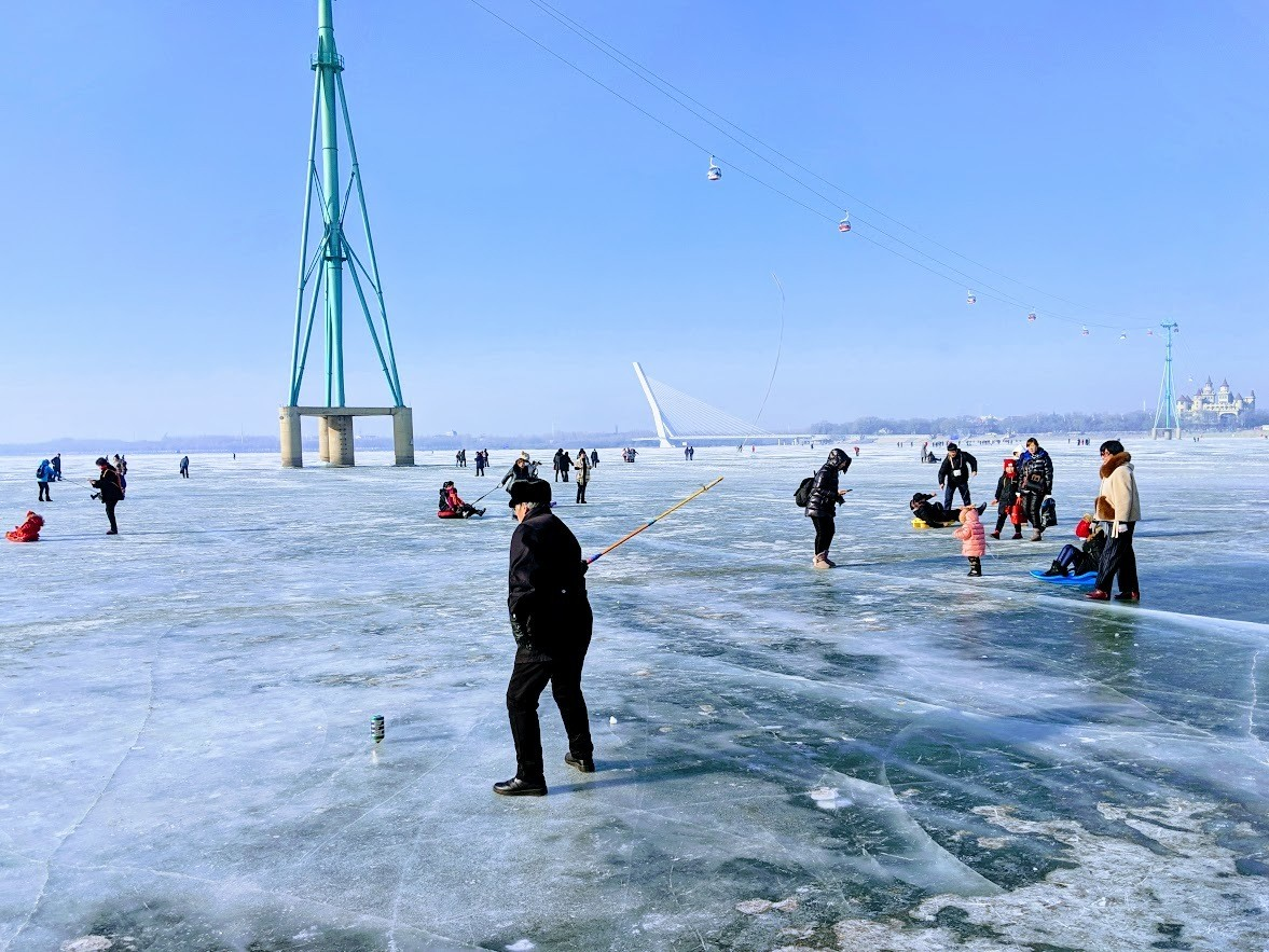 winter sports on the frozen songhua river