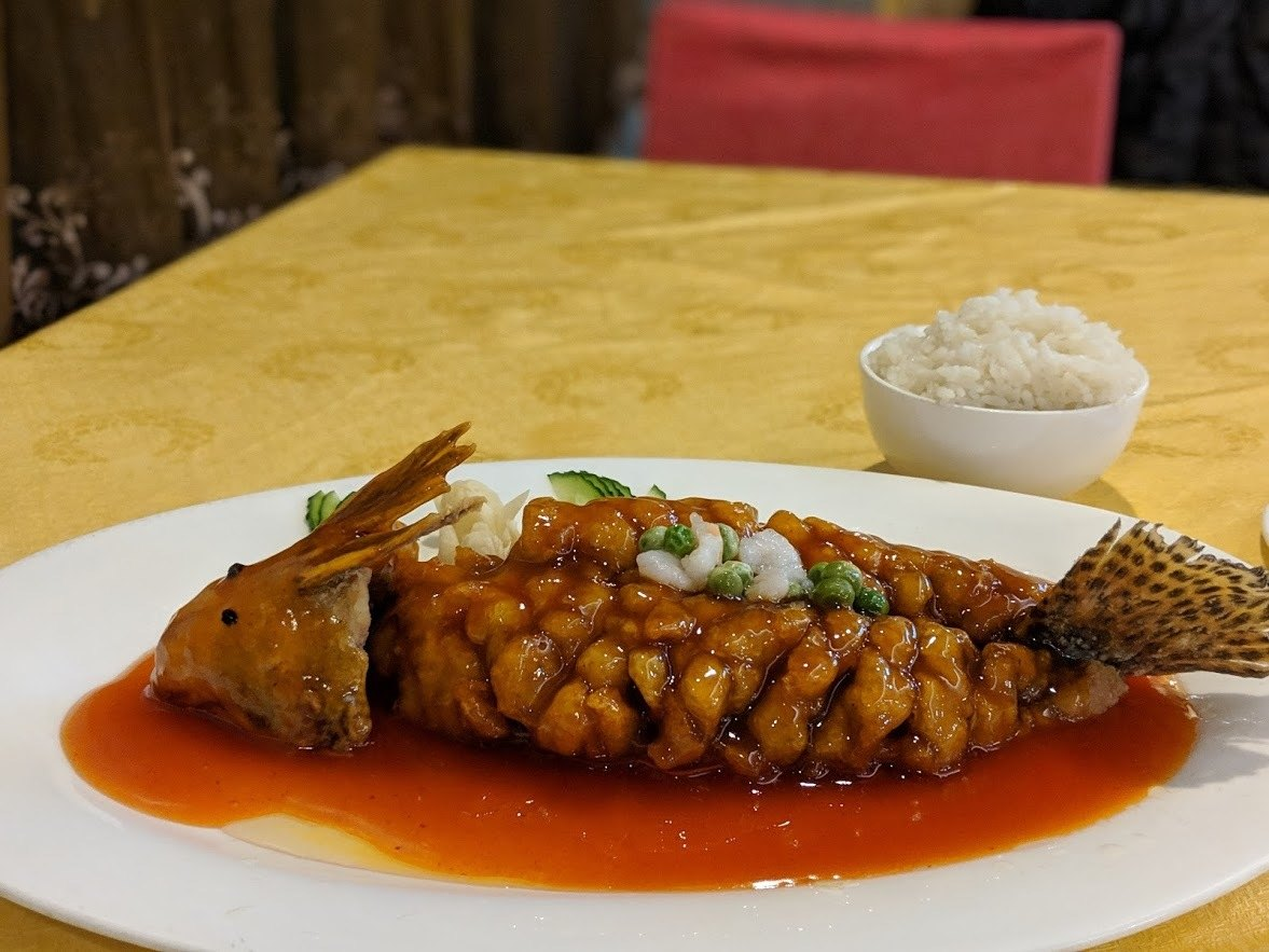 an iconic nanjing food, the squirrel fish