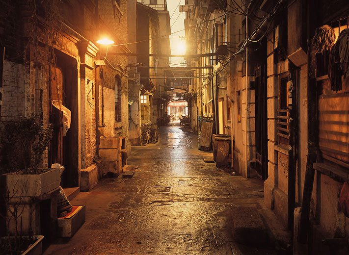 dark alley in shanghai old city before a tea scam