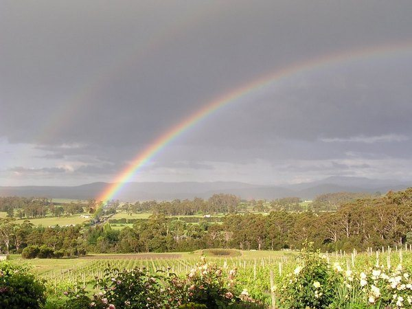One of the rainbows you might see during Tasmanian holidays
